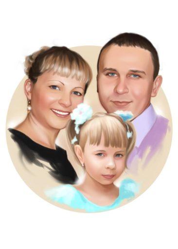 Семейный портрет по фото на холсте в Воронеже — правильный подарок!
