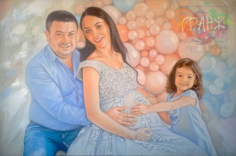 Заказать семейный портрет по фото маслом на холсте в Воронеже